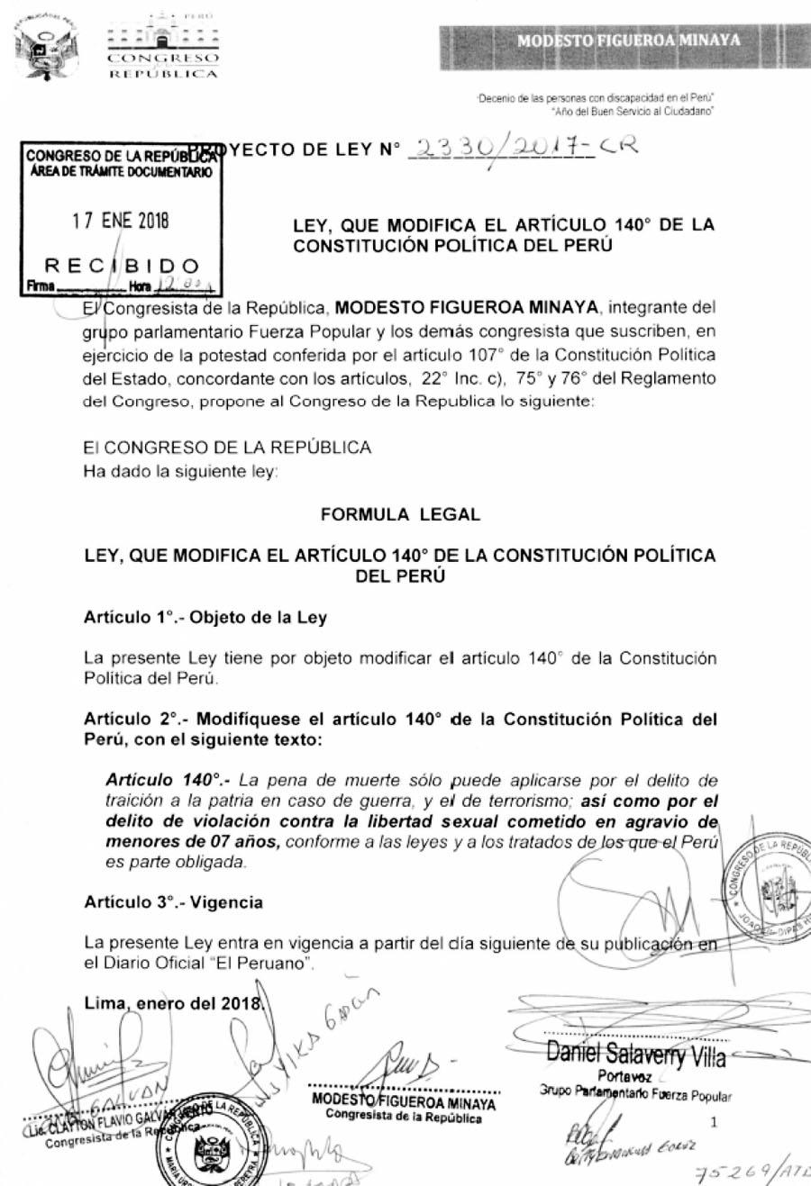 Proyecto de Ley N°2330 2017-CR