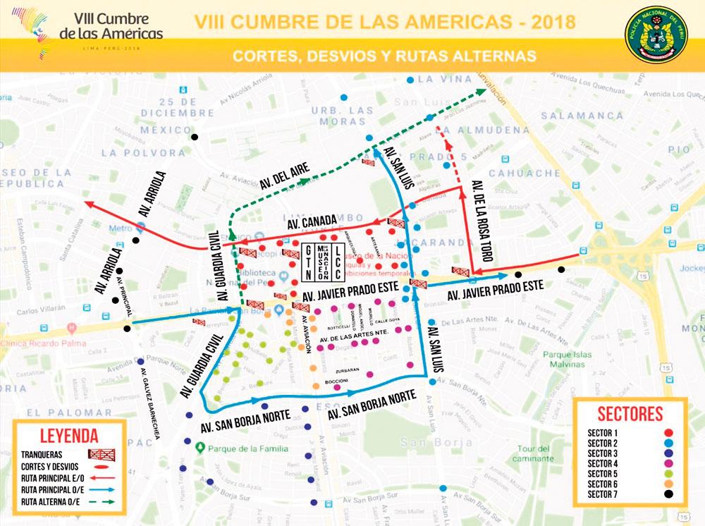 Plan desvios Cumbre Las Americas
