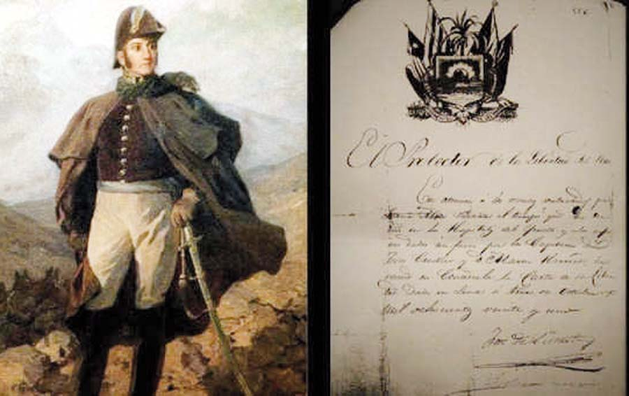 Manuscritor firmado por el libertador del Perú, José de San Martín