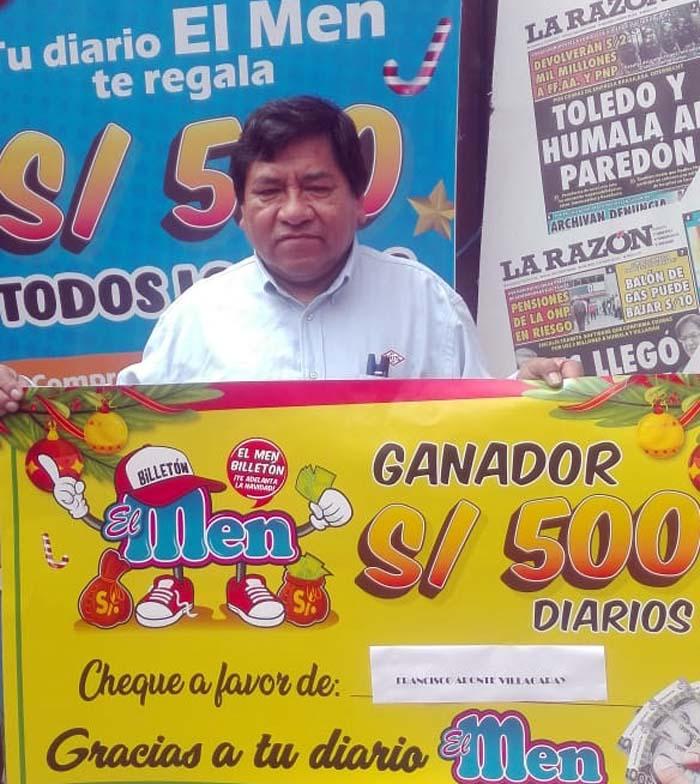 Francisco Aponte Villagaray ganador de El Men Billeton