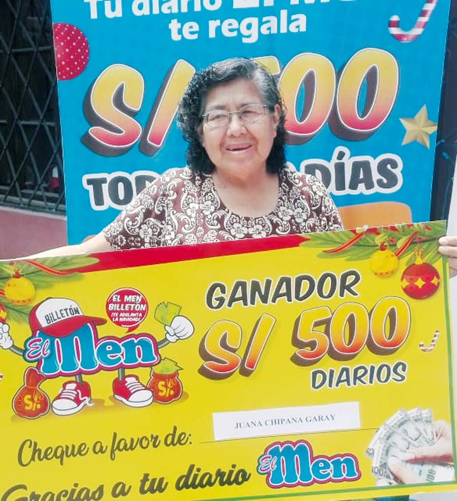 Juana Chipana Garay de Caballero ganadora de El Men Billeton