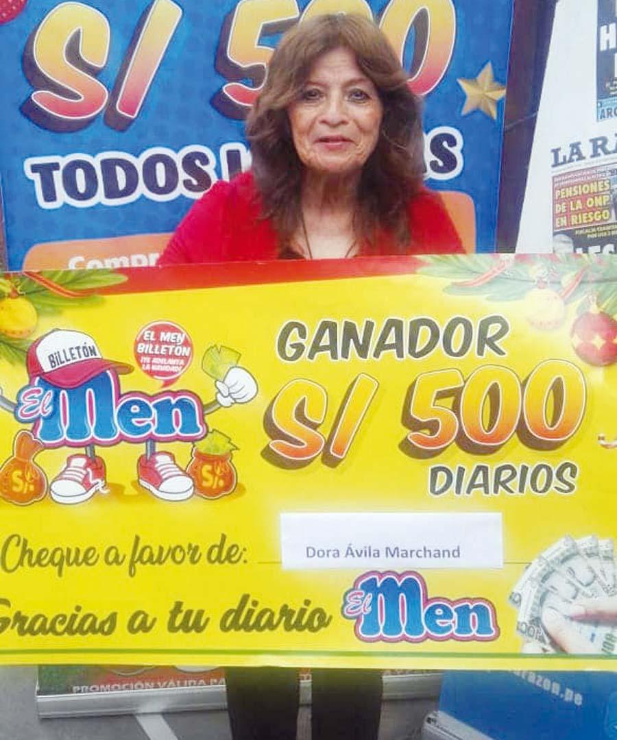 Dora Estela Ávila Marchan de Elías ganadora de El Men Billeton