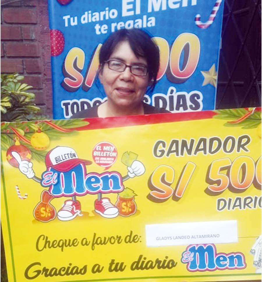 Gladys Landeo Altamirano ganadora de El Men Billeton