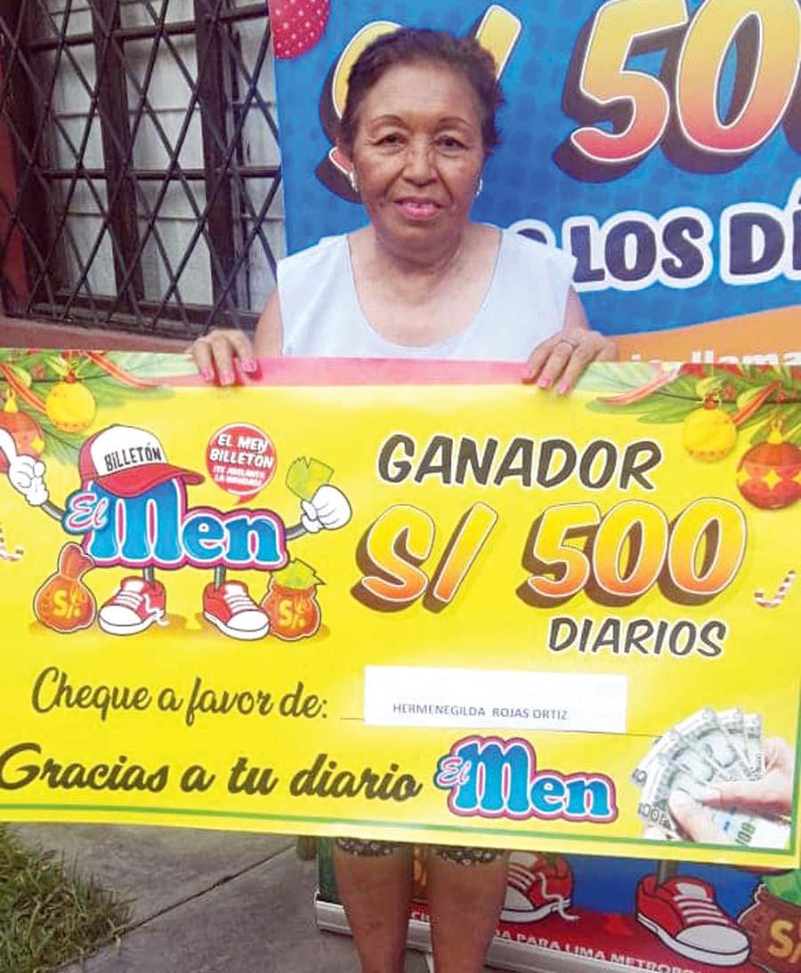 Hermenegilda Anita Rojas de Ortiz ganadora de El Men Billeton