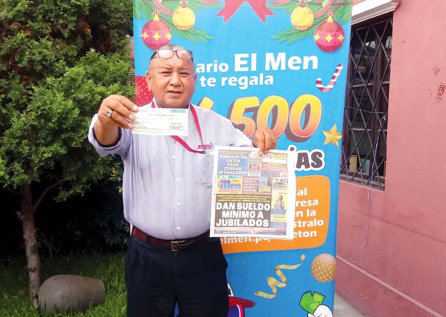 Severo Armando Sumen Cuya ganador de el Men Billeton