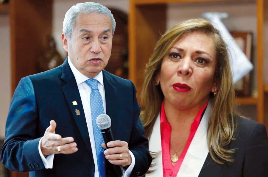 Pedro Chávarry y María Elena Portocarrero, decana del Colegio de Abogados de Lima