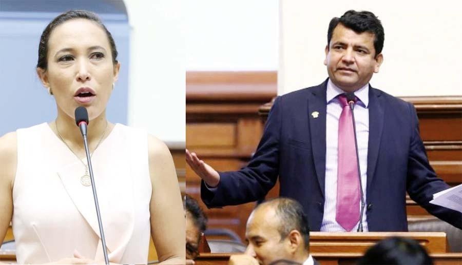 Congresista Paloma Noceda y el legislador fujimorista Luis López Vilela