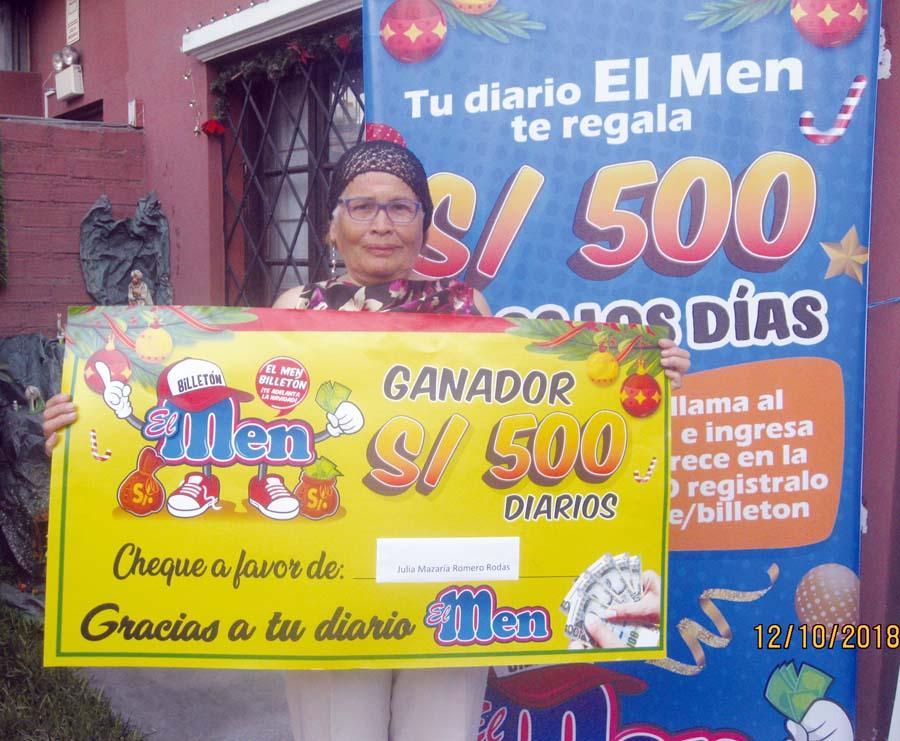 Julia Nazaria Romero Rodas, ganadora de 'El Men Billetón'
