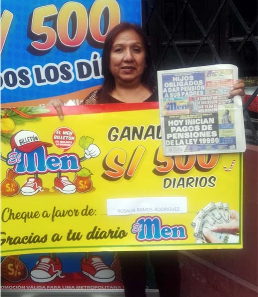 Rosalía Ramos Rodríguez ganadora de El Men Billeton