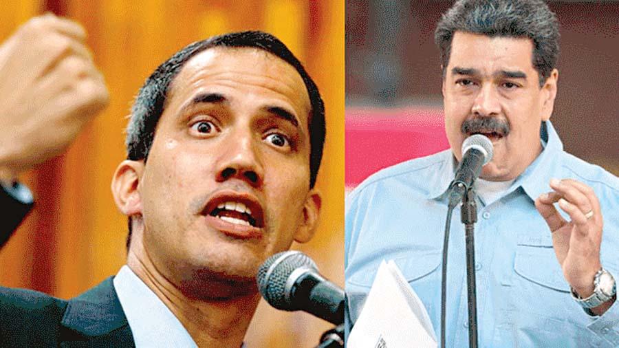 Guaidó y Nicolás Maduro