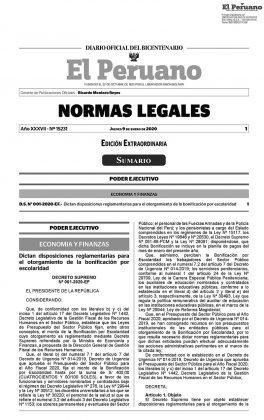 Decreto Supremo 001-2020-EF