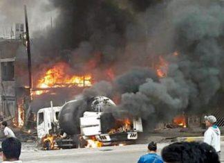 Explosión de camión de transporte de gas en Villa El Salvador