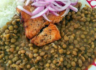 Lentejitas con pescado frito