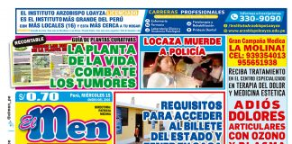 Portada impresa – Diario El Men (15-01-2020)