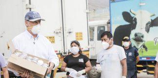 Alcalde Muñoz repartió donación de 240 mil latas de leche