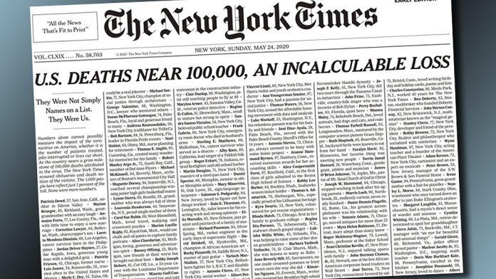 Emotiva portada con nombres de los casi 100.000 muertos por Covid-19 en E.U.
