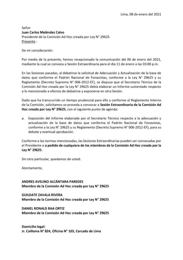 Cartas Fonavistas a Comision