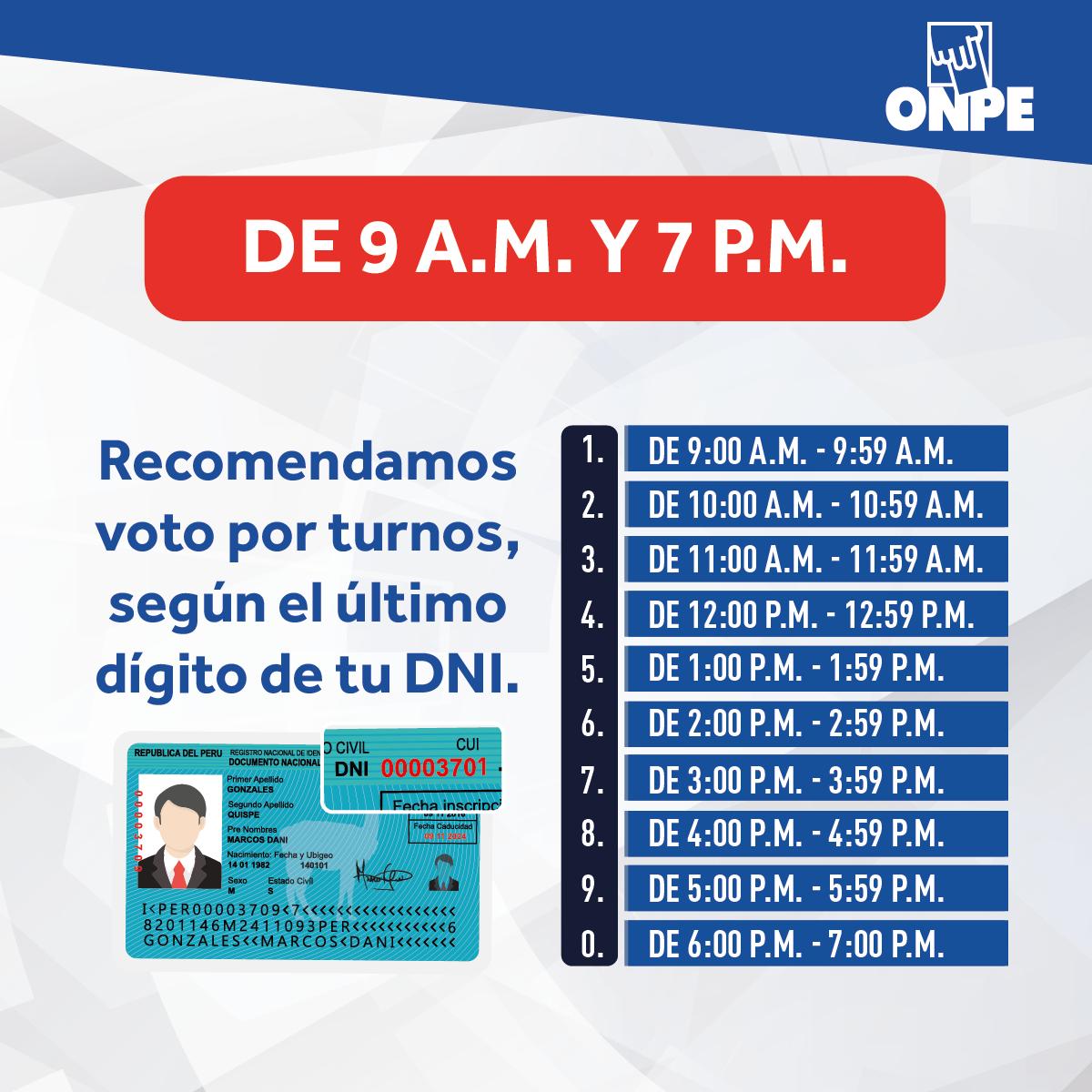 Horario de votación