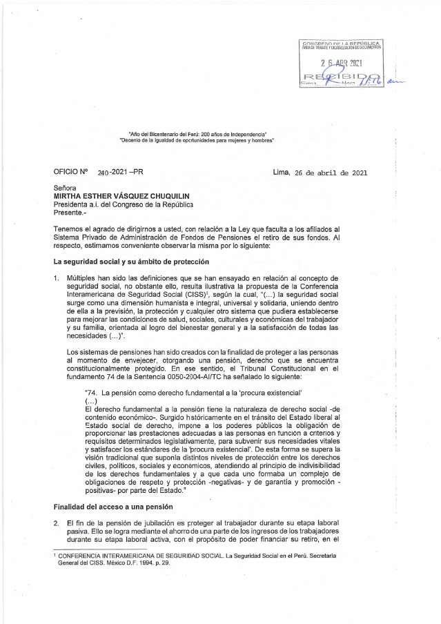 Carta propuestas del Congreso