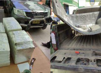 Descubren 96 kilos de cocaína en camioneta