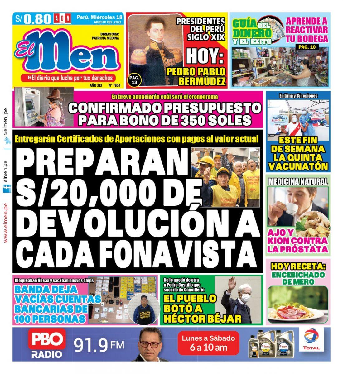 Portada impresa – Diario El Men (18/08/2021)