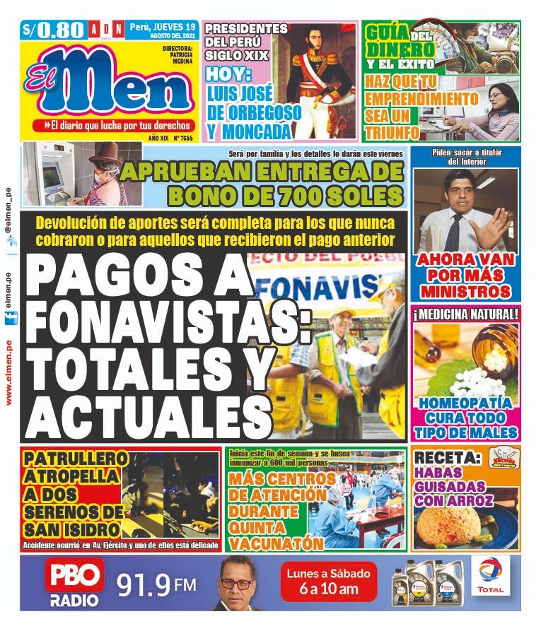 Portada impresa – Diario El Men (19/08/2021)