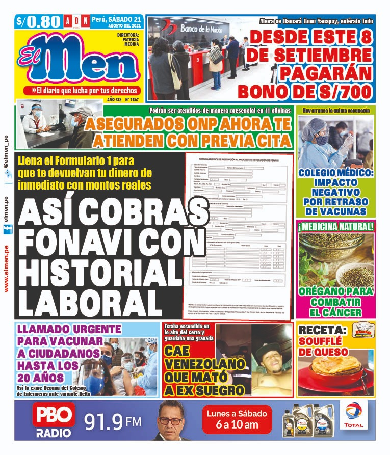 Portada impresa – Diario El Men (21/08/2021)