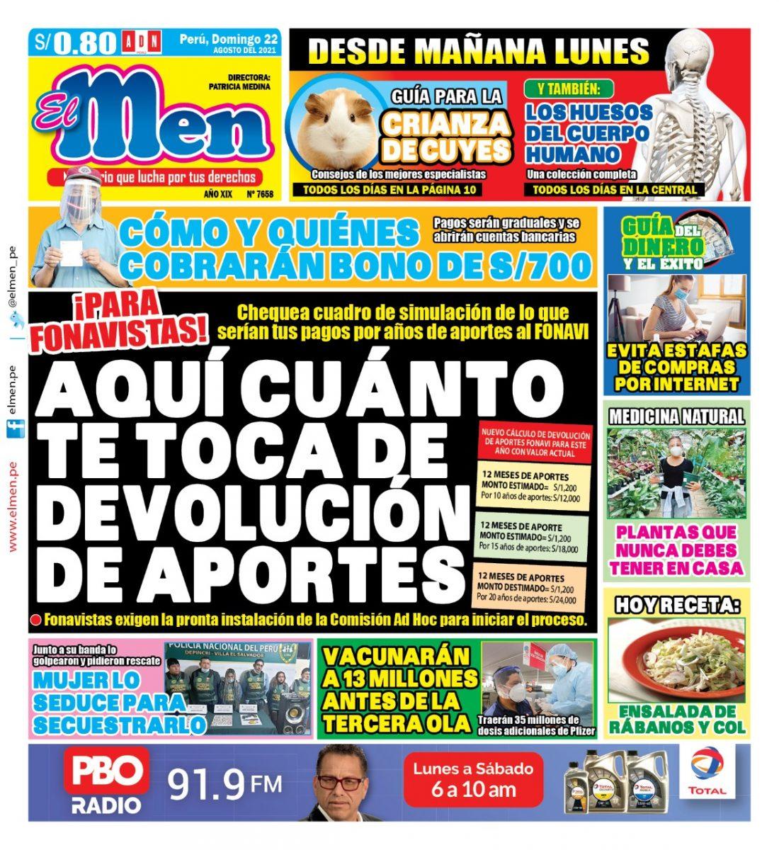 Portada impresa – Diario El Men (22/08/2021)