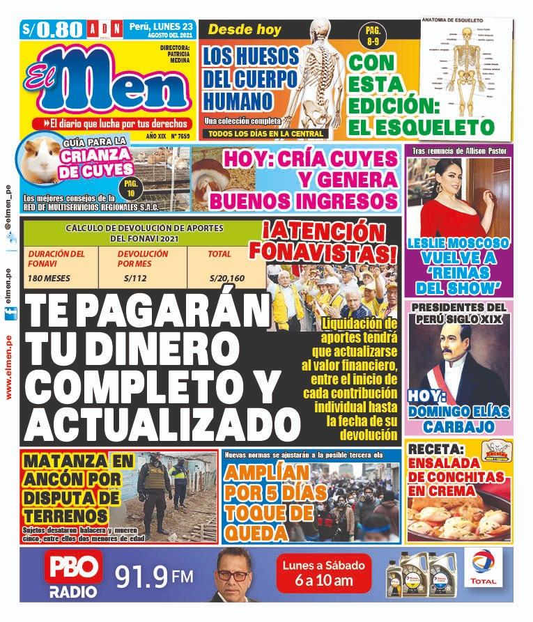 Portada impresa – Diario El Men (23/08/2021)