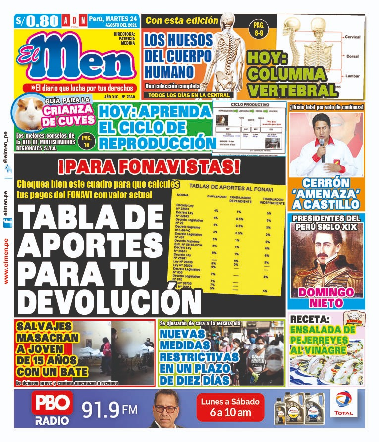 Portada impresa – Diario El Men (24/08/2021)