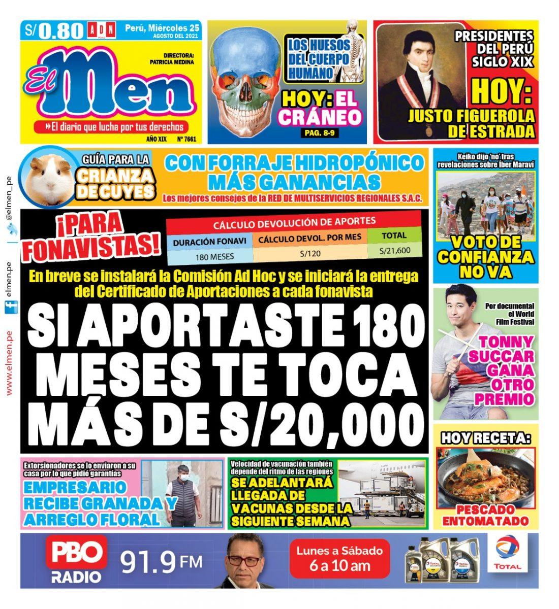 Portada impresa – Diario El Men (25/08/2021)