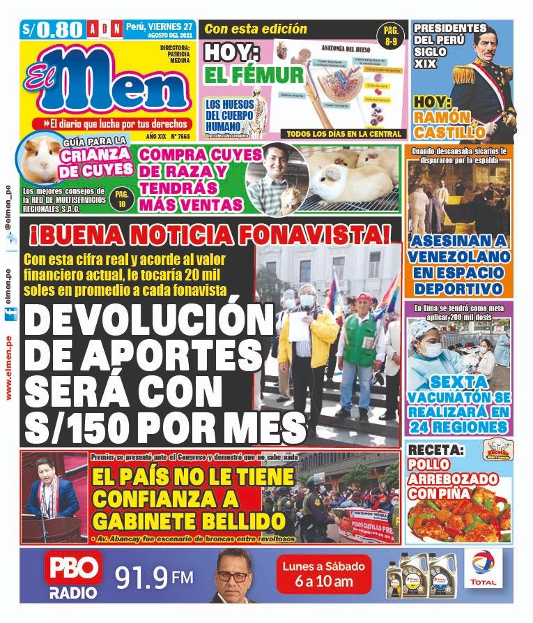 Portada impresa – Diario El Men (26/08/2021)