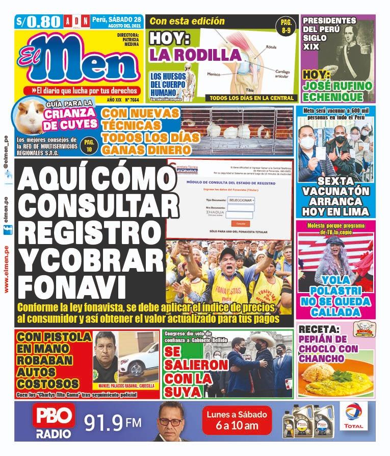 Portada impresa – Diario El Men (28/08/2021)