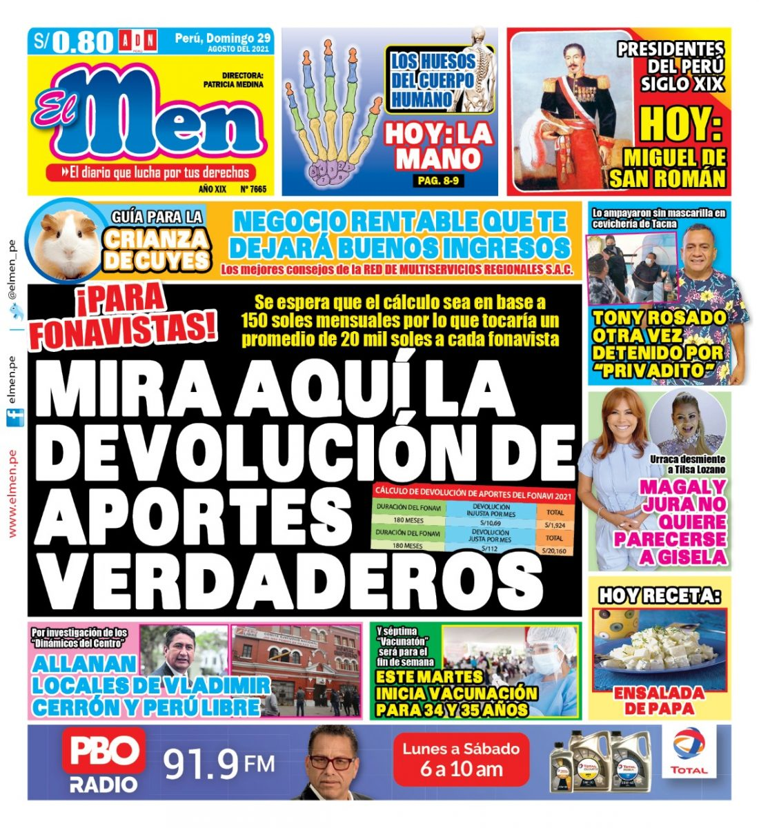 Portada impresa – Diario El Men (29/08/2021)
