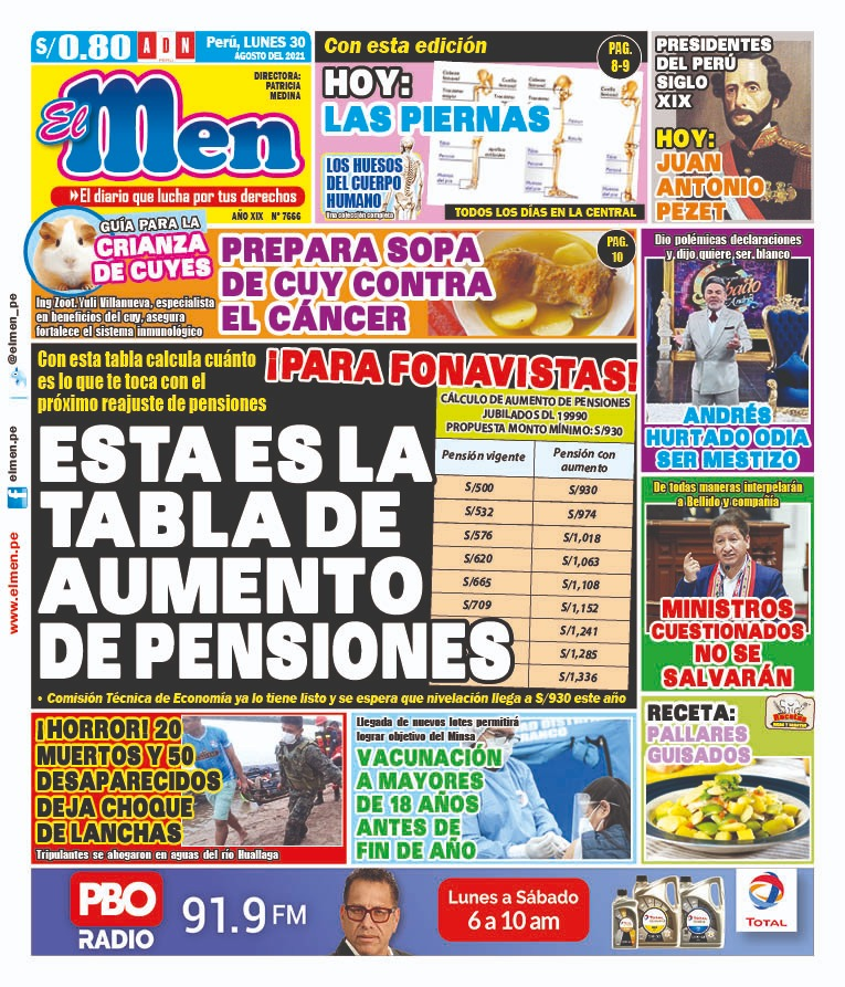Portada impresa – Diario El Men (30/08/2021)