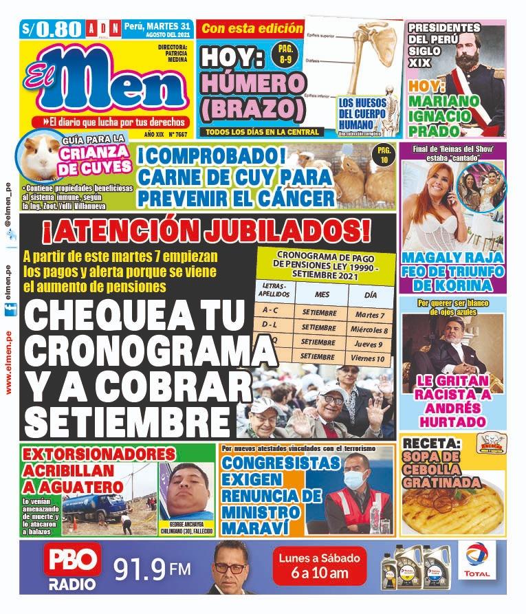 Portada impresa – Diario El Men (31/08/2021)