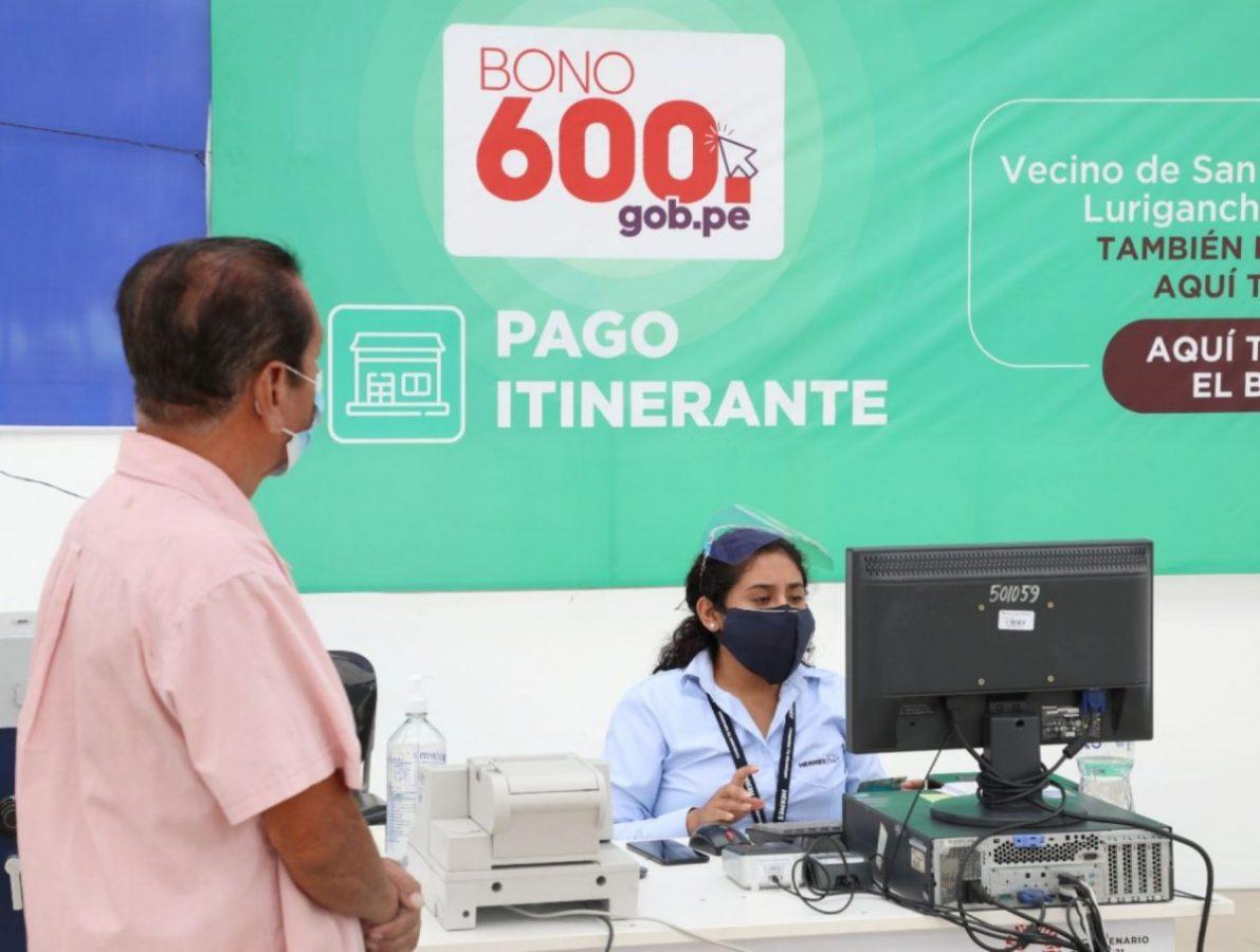 Bono 600 podrá cobrarse hasta el 30 de setiembre del 2021