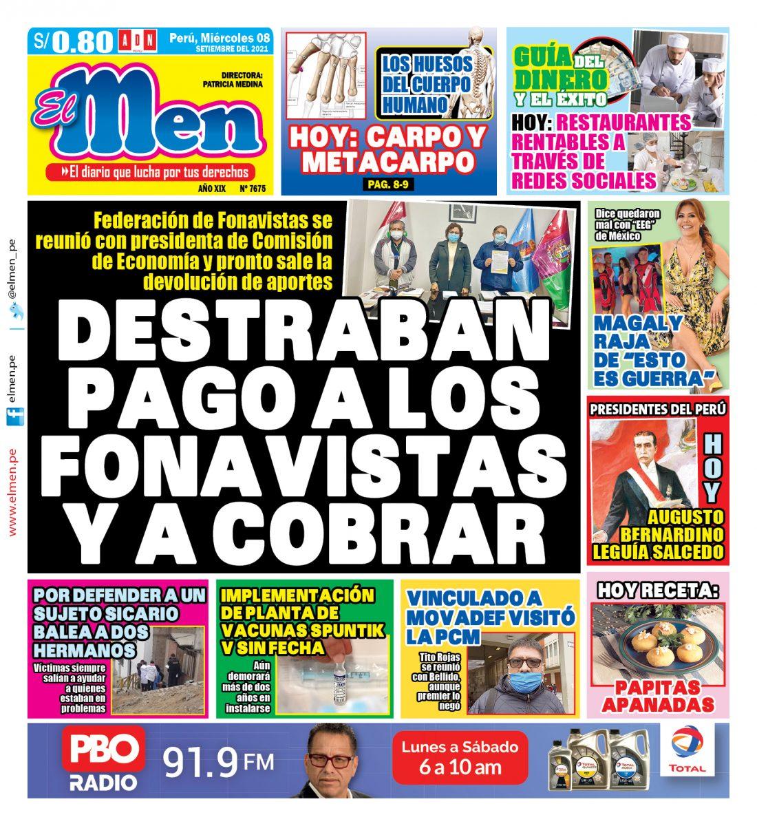 Portada impresa – Diario El Men (08/09/2021)