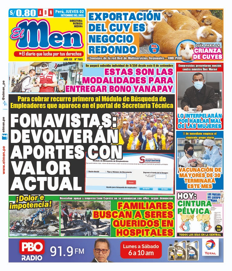 Portada impresa – Diario El Men (02/09/2021)