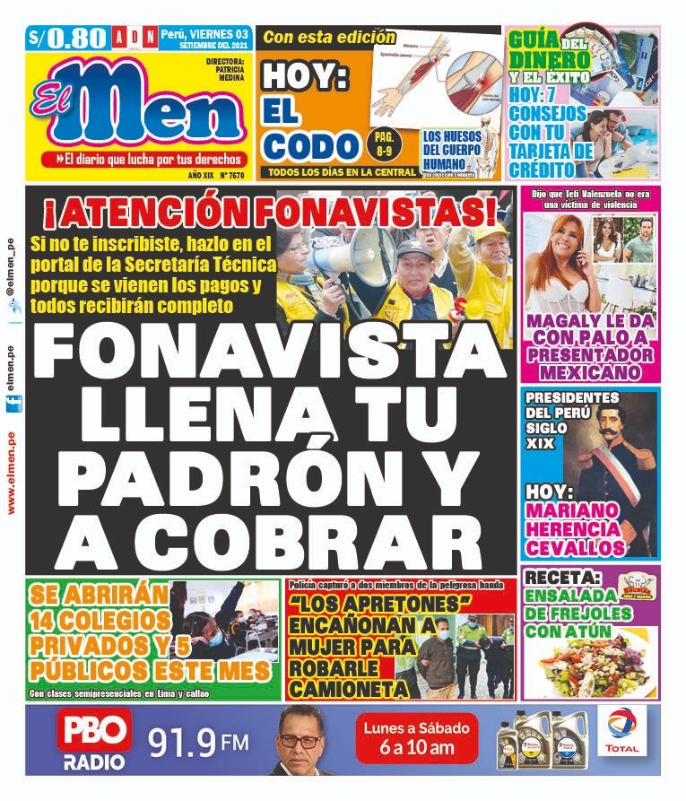 Portada impresa – Diario El Men (03/09/2021)