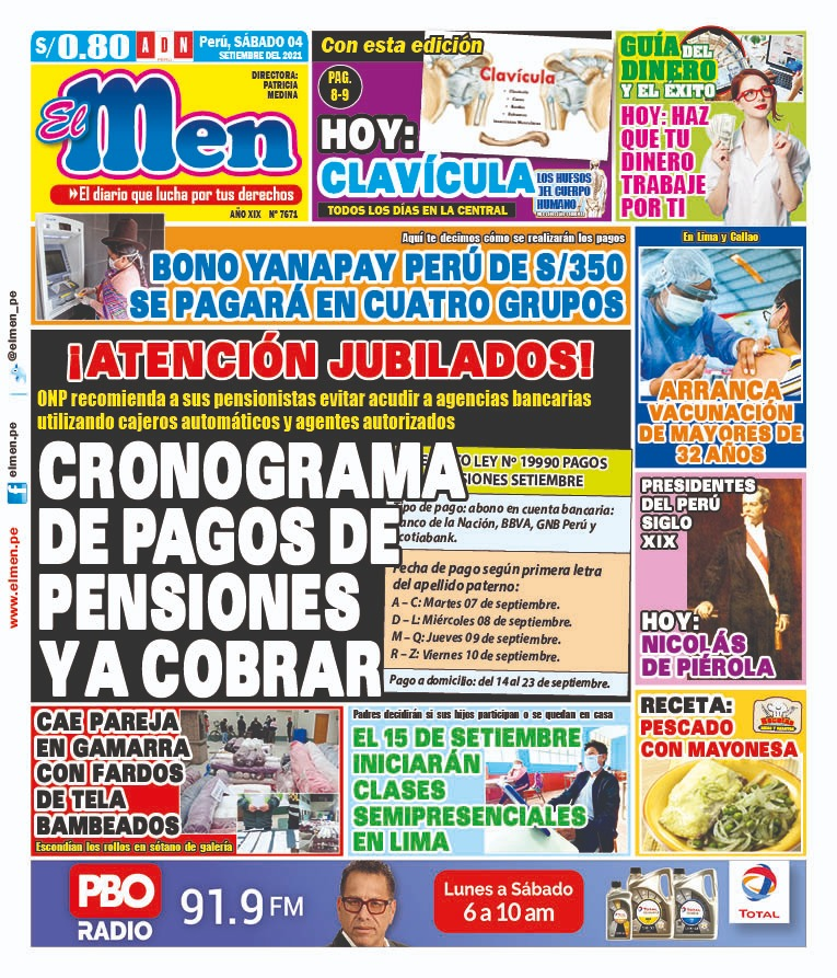Portada impresa – Diario El Men (04/09/2021)