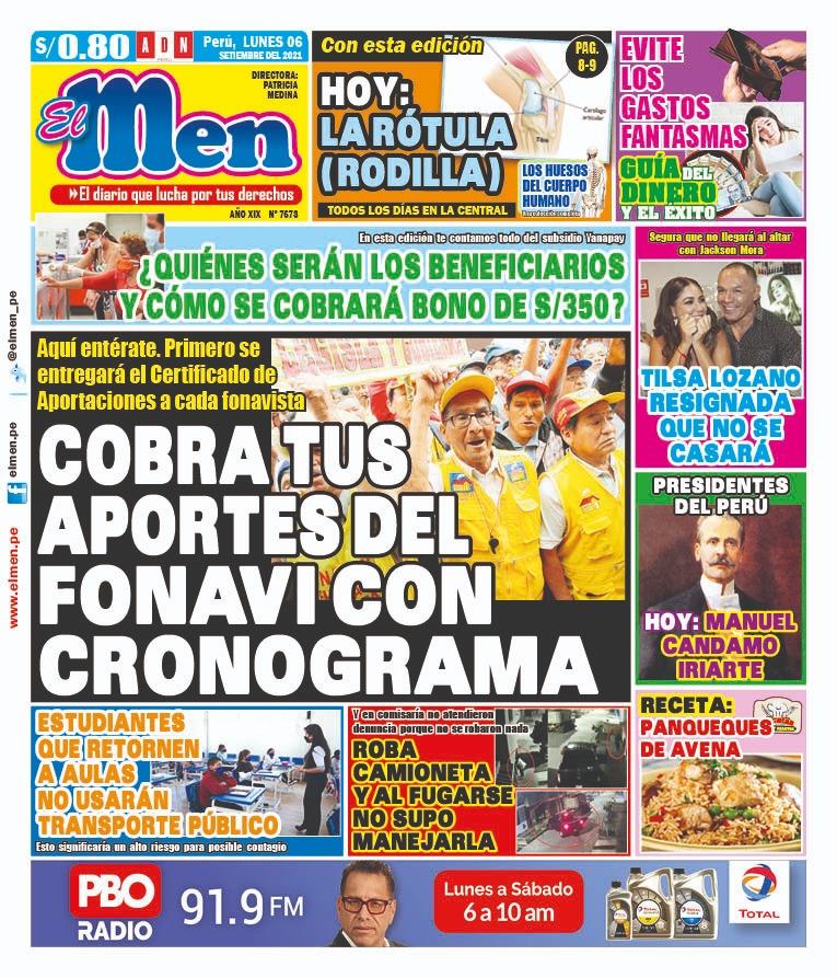Portada impresa – Diario El Men (06/09/2021)