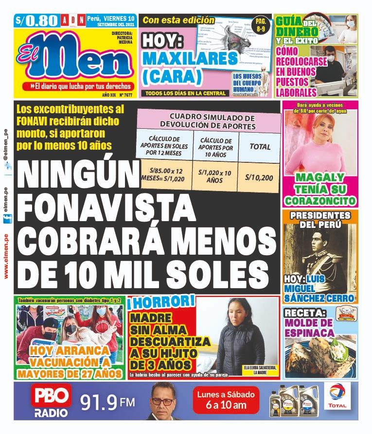Portada impresa – Diario El Men (10/09/2021)