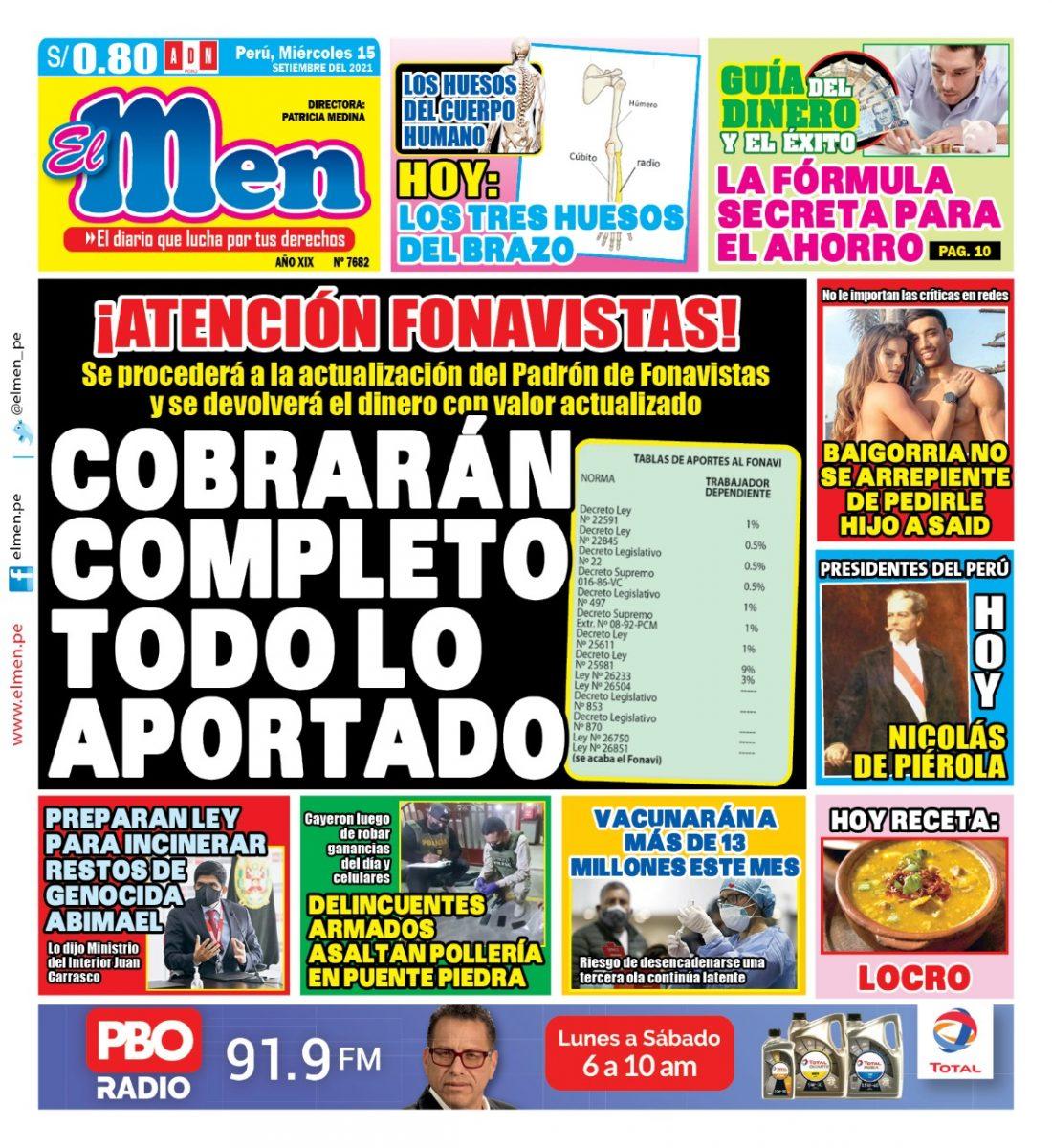 Portada impresa – Diario El Men (15/09/2021)