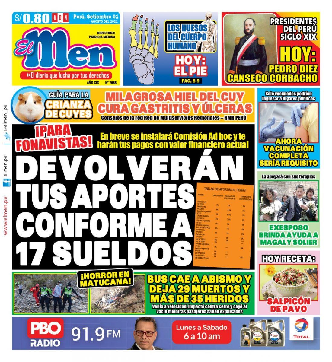 Portada impresa – Diario El Men (01/09/2021)
