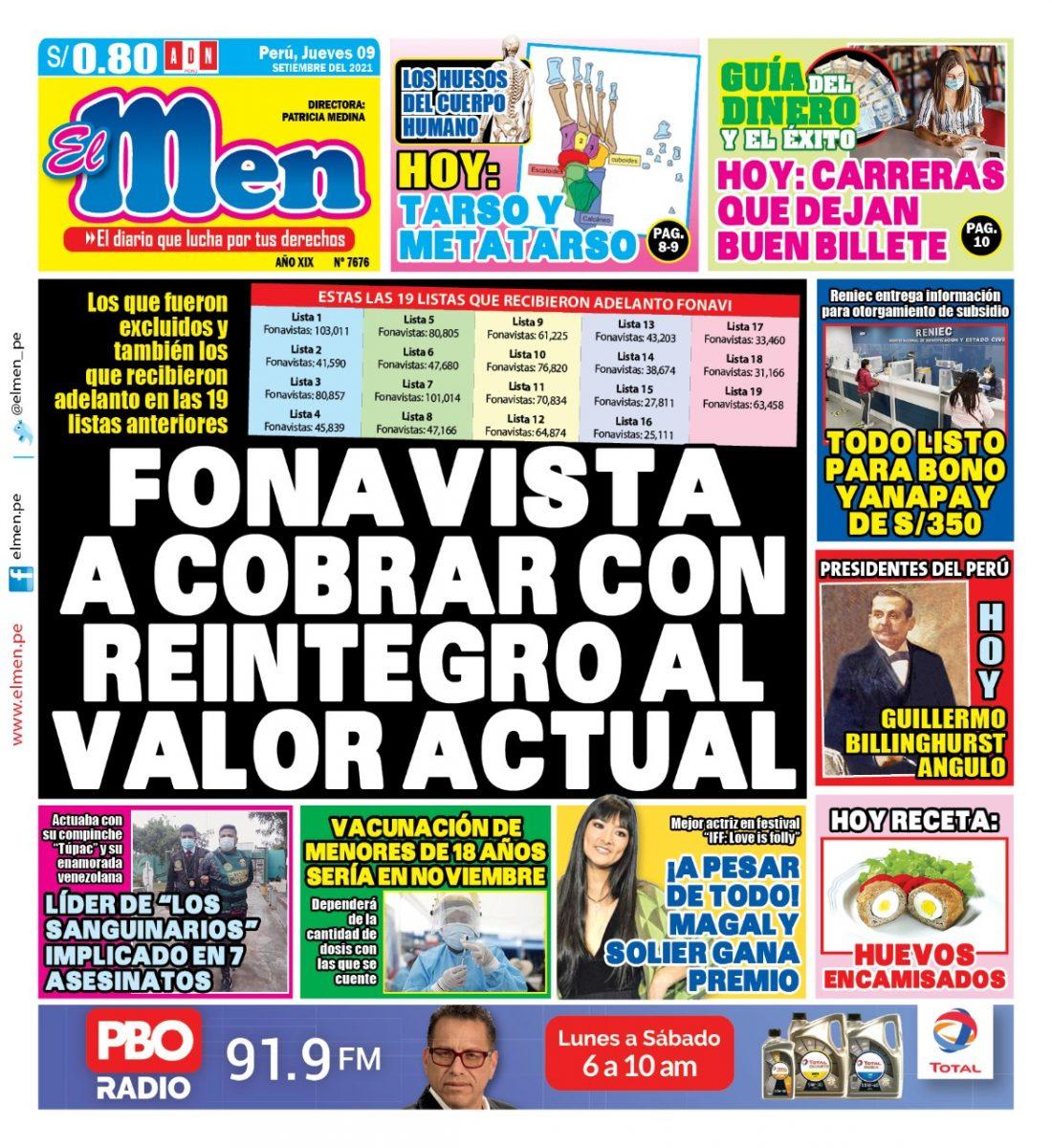 Portada impresa – Diario El Men (09/09/2021)