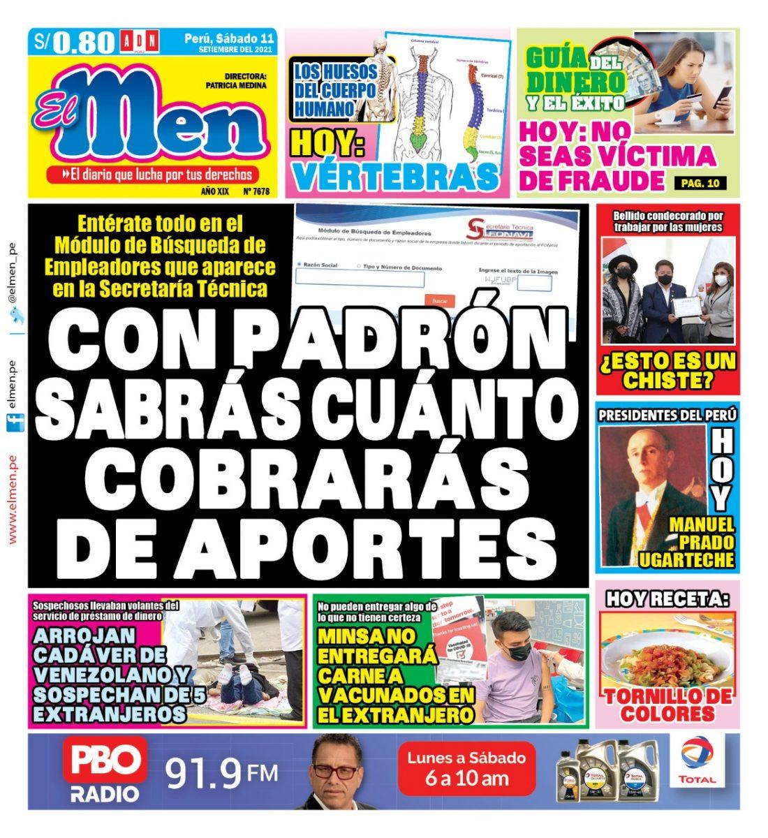 Portada impresa – Diario El Men (11/09/2021)