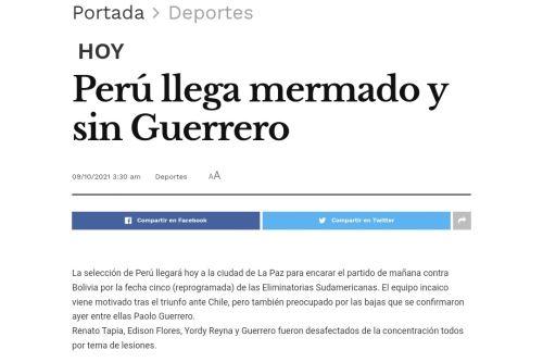 Perú VS Bolivia: Mañana domingo