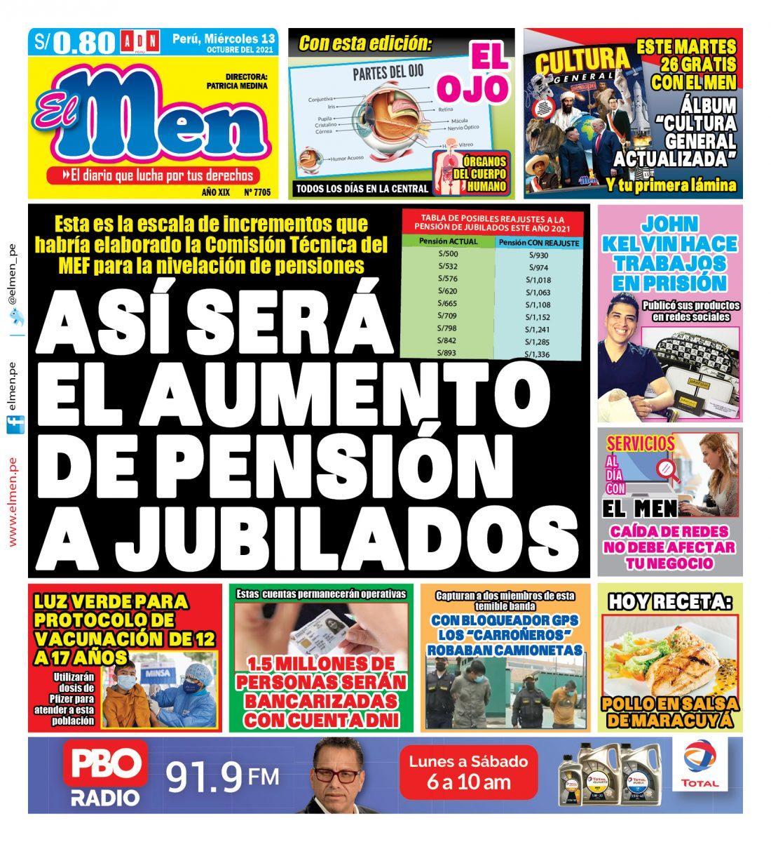 Portada impresa – Diario El Men (13/10/2021)