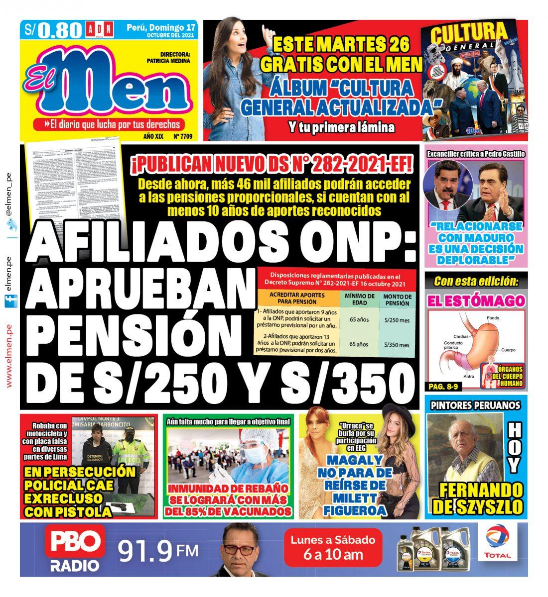 Portada impresa – Diario El Men (17/10/2021)